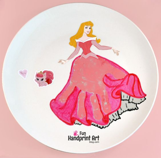 Here is a fun Sleeping Beauty Handprint Craft that also is a plate keepsake that can be displayed in the home.