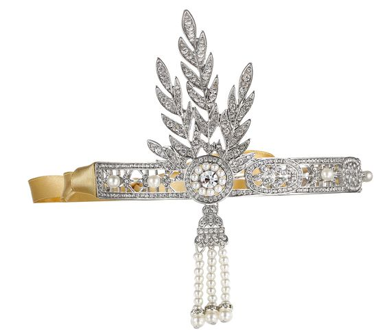 Kristall Braut Blatt Stirnband Strass The Great Gatsby Inspiriert Perlenstirnband -Haar Tiara: Amazon.de: Schmuck