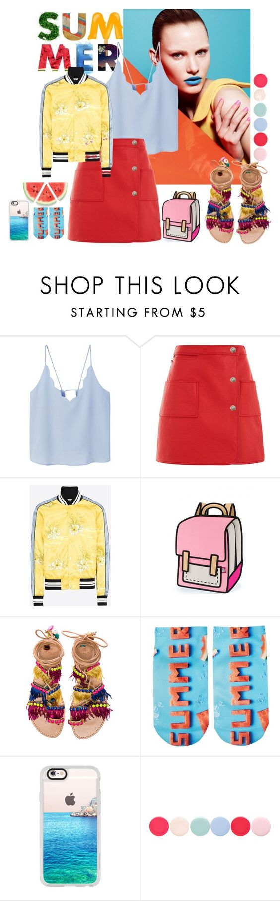 """""""SQUARE COLOR SCHEME"""" by radhika76 on Polyvore featuring MANGO, Courrèges, Valentino, Elina Linardaki, Free Press, Casetify and Nails Inc."""
