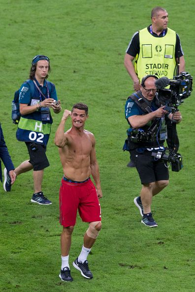 #EURO2016 Portugal's Cristiano Ronaldo celebrates after the match during the UEFA Euro 2016 Final match between Portugal and France at Stade de Lyon on July 10...