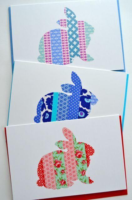 Washi tape card bunny rabbit van SuWolf op Etsy, $3,00