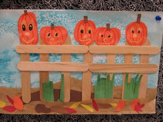 Preschool fall crafts fall craft project pumpkins on a for Fall crafts for preschoolers pinterest