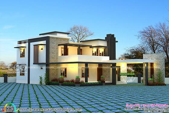 Flat Roof 4 Bedroom Modern Home Flat Roof Design Roof Design Flat Roof
