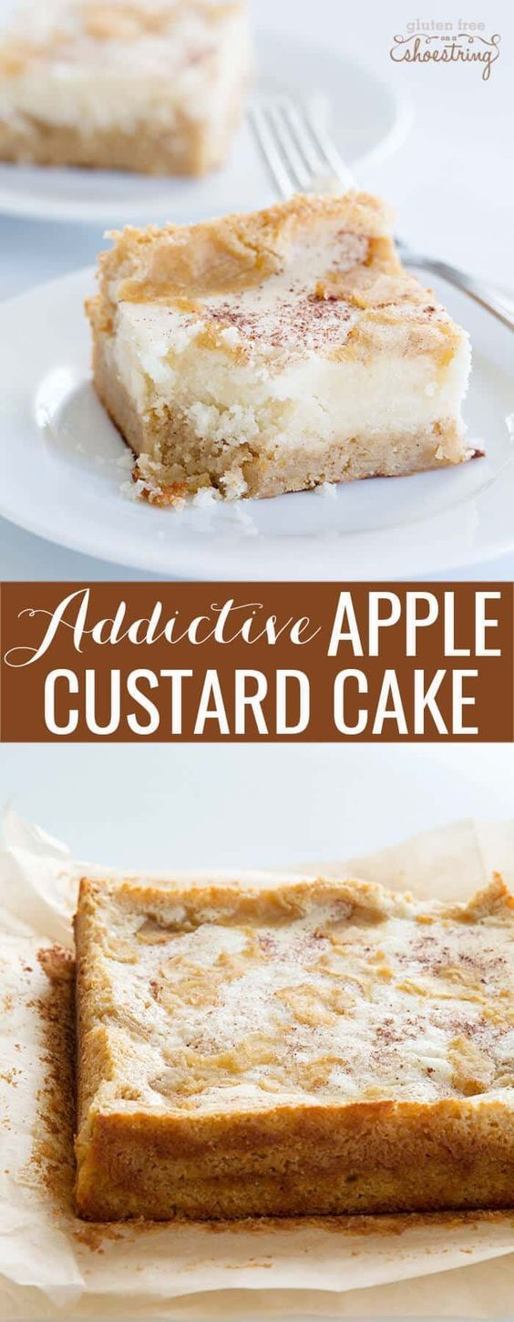 Incredibly easy apple custard cake, made with homemade or store bought cake mix (gluten free or not), applesauce and the perfect spices. Fall perfection! #glutenfree #gf #applecake #crackcake