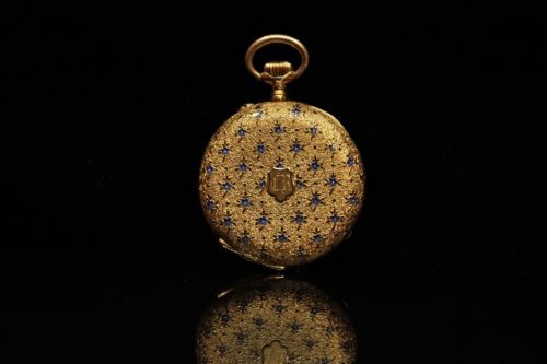 ANTIQUE-ORIGINAL-PERFECT-EUROPEAN-18K-GOLD-ENAMEL-POCKET-WATCH