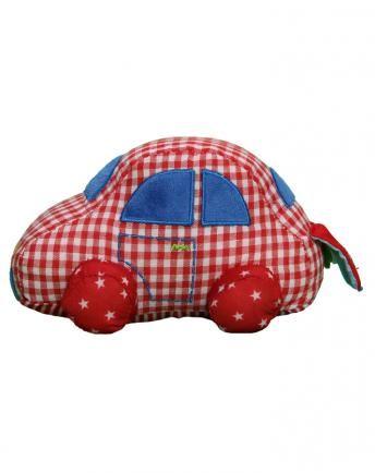 Stoff-Auto Baby Glück in rot kariert