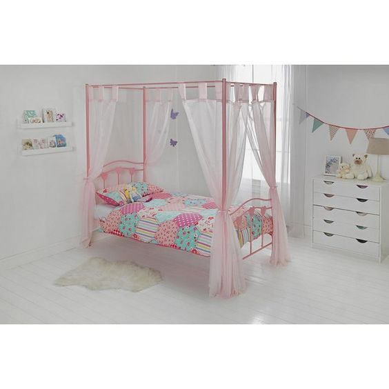 Buy Princess Single Four Poster Bed Frame   White at Argos co uk   Your  Online Shop for Children s beds  Children s beds    Anna Kat room idea    Pinterest. Buy Princess Single Four Poster Bed Frame   White at Argos co uk