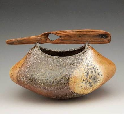 """Agates Contained,"" Oregon driftwood, coil construction, soda fired by Melanie Ferguson."