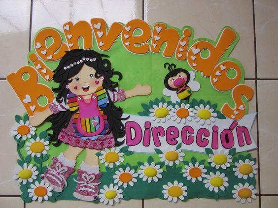 decorar sala de kinder:cartel para puerta ,hecha con goma eva