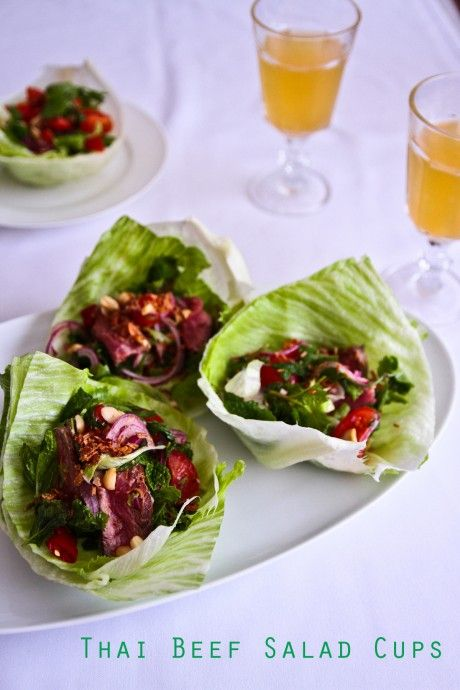 Thai beef salad cups thai salads game night food and for Canape ideas nigella