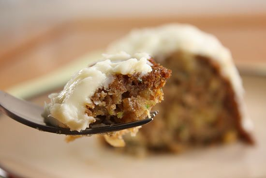 Pineapple Zucchini Cake with Cream Cheese Frosting | Skinnytaste: use all white flour no coconut shreds low fat cream cheese peel zucchinni