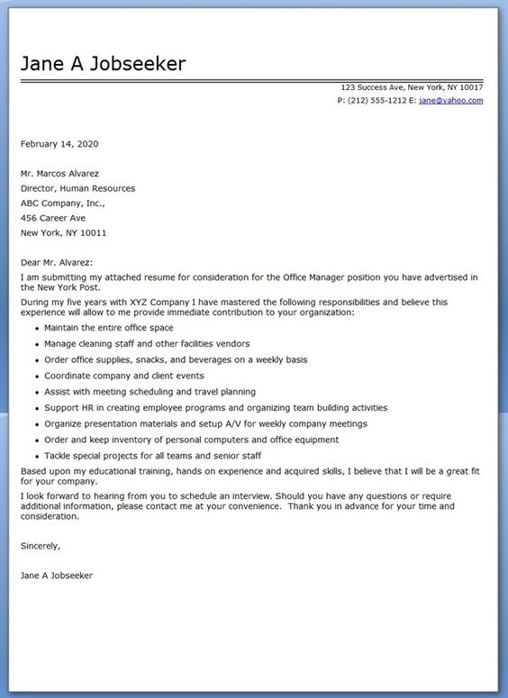 Office Manager Resume Cover Letter Sample Resume Pinterest - director of human resources resume