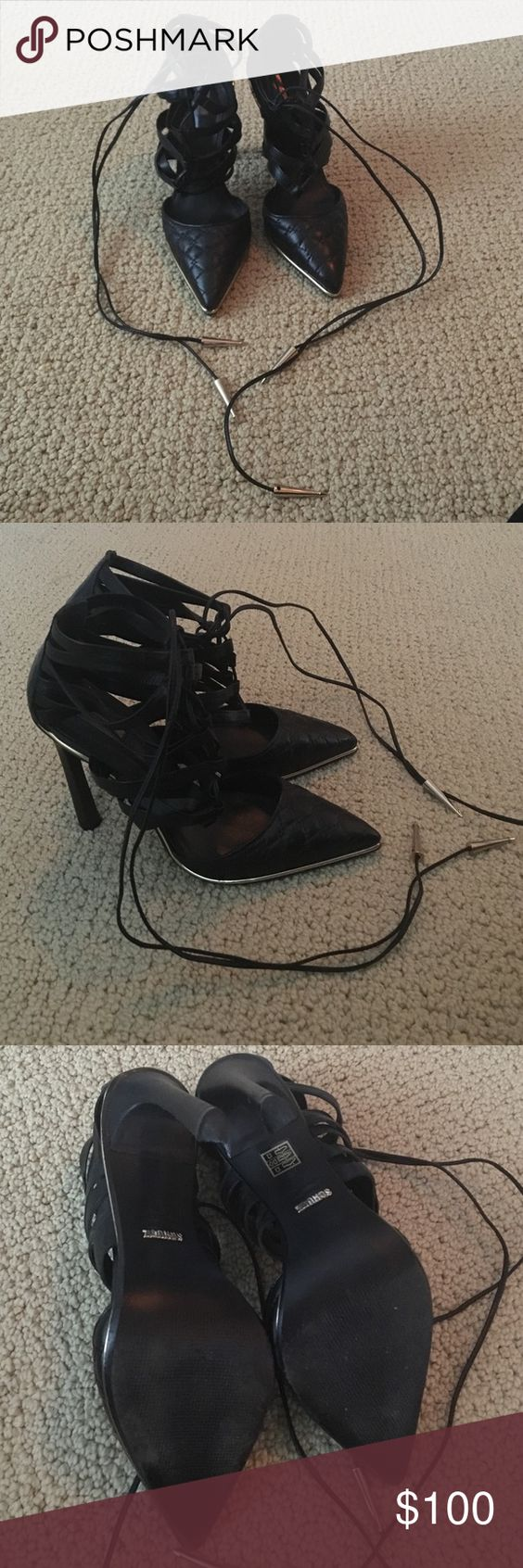 """Schutz black strappy leather lace up heels Beautiful black leather strappy lace up sandals by Schutz. Quilted at the toes. 4"""" heel, super sexy shoes. Worn only once just a little light wear on the bottom hardly noticeable. Fits size 7.5-8. SCHUTZ Shoes Heels"""