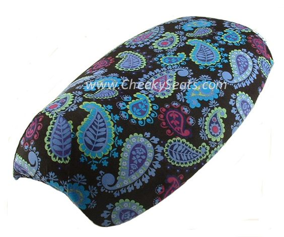 Blue Paisley Corduroy Scooter Seat Cover Yamaha Vino 125 | Scooter Seat Covers