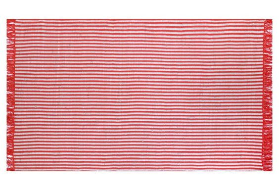 Striped Eula Flat-Weave Rug, Red