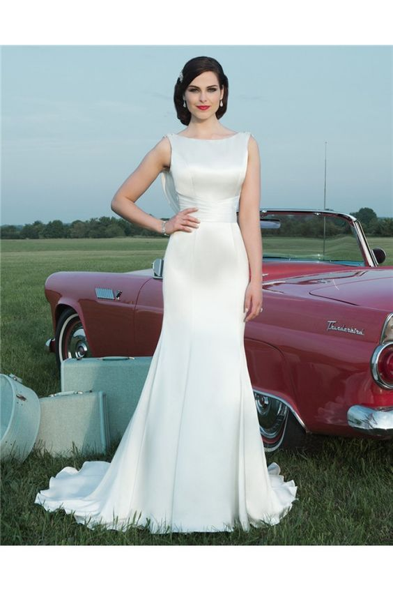 Simple fitted mermaid boat neck cowl open back satin for Satin cowl neck wedding dress