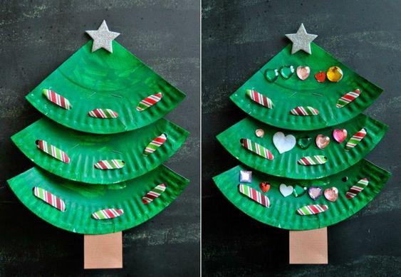 Basteln mit Papptellern weihnachtsbaum basteln schmücken