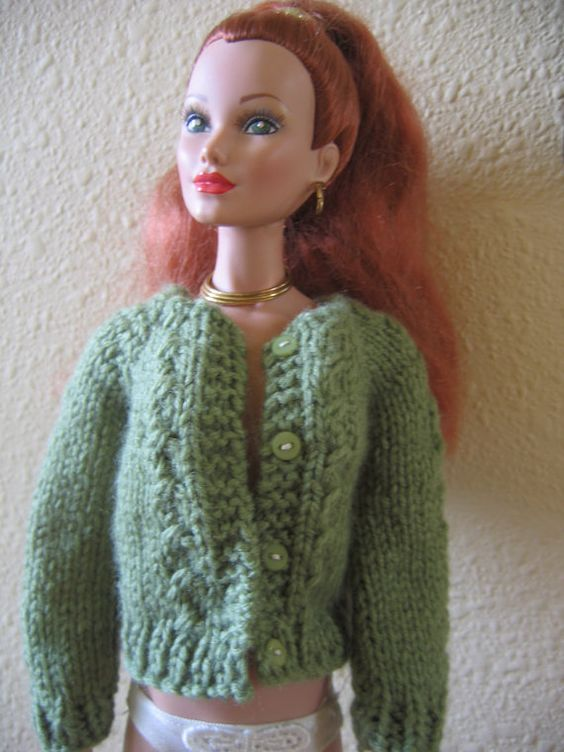 Barbie Knitting Patterns To Download : Tonner Doll Clothes Moss Green Cardigan Sweater Hand Knit fits 16 inch fashio...