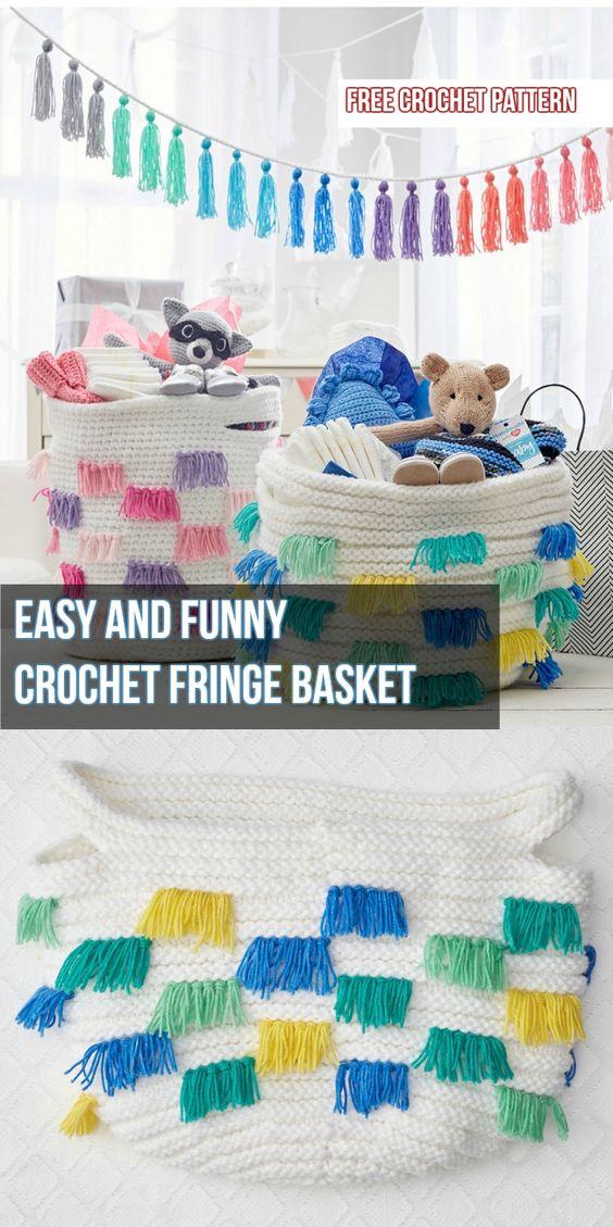 Easy And Funny  Crochet Fringe Basket #crochetpattern #basketpattern #crochet #yarnorganization