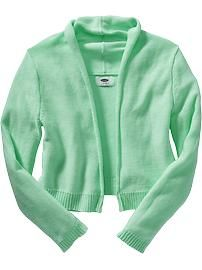 Girls Open-Front Cardigans