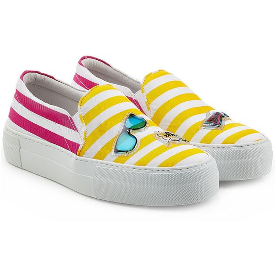 Joshua Sanders Striped Slip-On Sneakers ($265) ❤ liked on Polyvore featuring shoes, sneakers, multicolor, multi colored shoes, multi color sneakers, multicolor shoes, striped shoes and pull-on sneakers