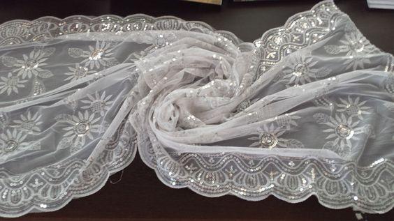 Kroren Pailletten Tuch Hochzeit Schal Hijab Strass Halstuch Spitze Niqab Khimar