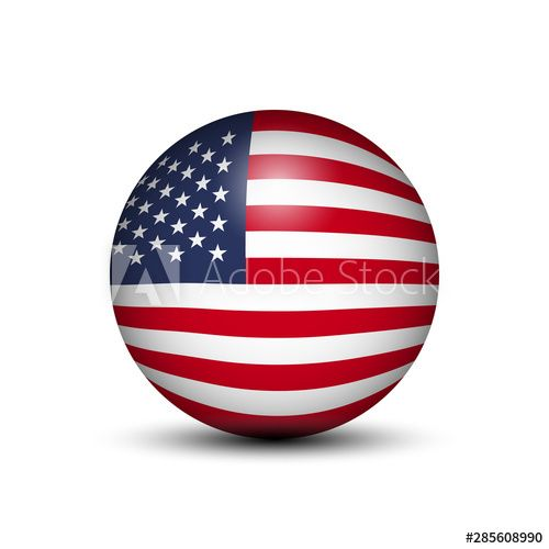Flag Of Usa In The Form Of A Ball Isolated On White Background Flag White Background Background