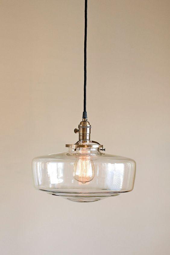 Glass Schoolhouse Light Fixture Pendant by OldeBrickLighting