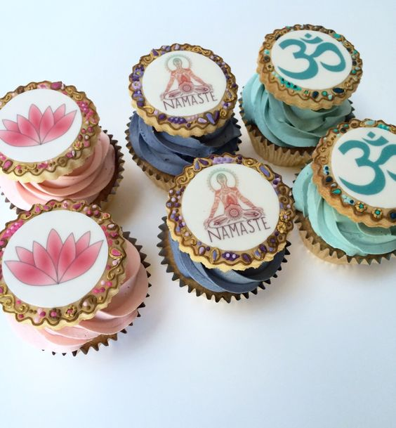 Yoga Cupcakes with Lotus Flower, Namaste and Om Edible Prints www.thewhiskandspoon.co.uk: