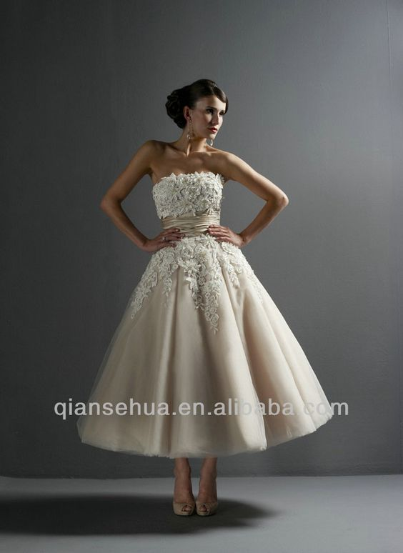 Vintage Style Lace Appliques Strapless A Line Champagne Tea Length Wedding Dress