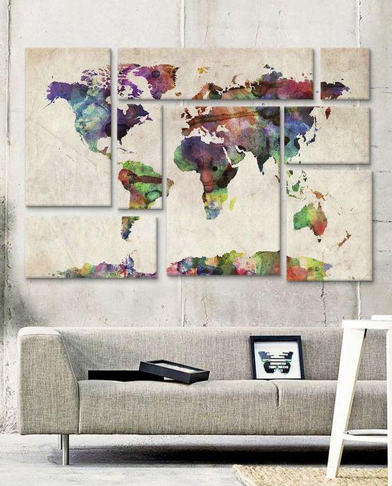 Estampando paredes, globos, quadros, e até cadeiras, deixe o seu lado viajante à mostra com 27 maneiras de usar mapas-múndi na decoração.: