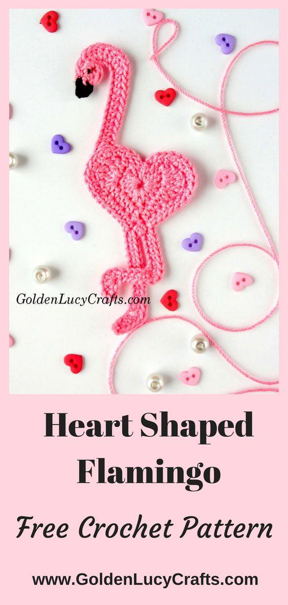 Crochet Flamingo, flamingo applique, free crochet pattern, #crochet, #freecrochetpattern, #crochetpattern, #flamingo