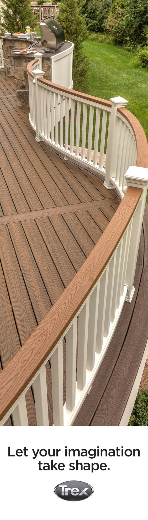 Composite decking railings and curves on pinterest for Composite decking and railing