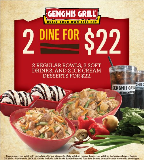 picture relating to Genghis Grill Printable Coupon known as Genghis grill houston coupon codes printable : Costco discount codes united kingdom