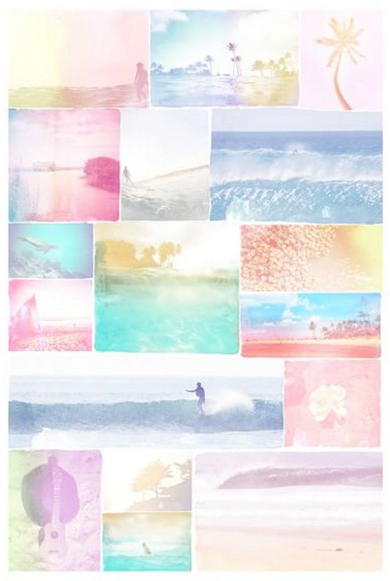 Surf Girl Themed Collage Wall Mural
