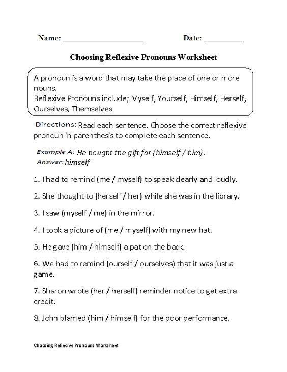 Reflexive Pronouns Worksheets Pronoun Worksheets Reflexive Pronoun Reflexive Pronouns Worksheet