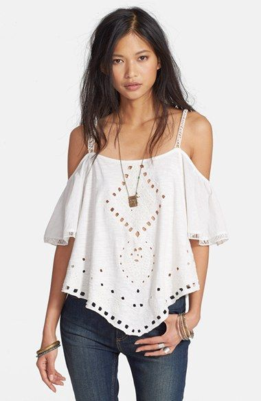 Free People 'Toosaloosa' Cold Shoulder Top at Nordstrom.com. Crisp cutwork and tonal embroidery enhance the boho vibe of a voluminous cold-shoulder top fashioned from supersoft slub cotton. A handkerchief hem with shirttail vents completes the eye-catching look.: