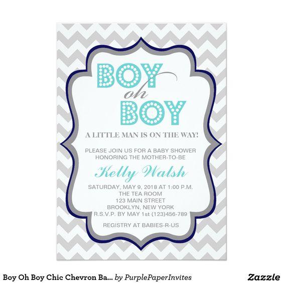"""boy oh boy chic chevron baby shower invitation 5"""" x 7"""" invitation, Baby shower invitations"""
