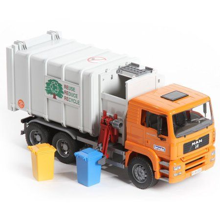 Bruder Toys Man Side Loading Garbage Truck With 2 Refuse Bins 02761 Littlecabin
