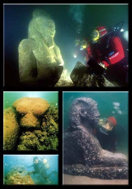 """Lost for 1,600 years, the royal quarters of Cleopatra were discovered off the shores of Alexandria. A team of marine archaeologists, led by Frenchman, Franck Goddio, began excavating the ancient city in 1998. Historians believe the site was submerged by earthquakes and tidal waves, yet, astonishingly, several artifacts remained largely intact. Amongst the discoveries were the foundations of the palace, shipwrecks, red granite columns, and statues"""