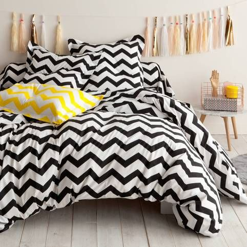housse de couette coton imprim rayures chevron chevron. Black Bedroom Furniture Sets. Home Design Ideas