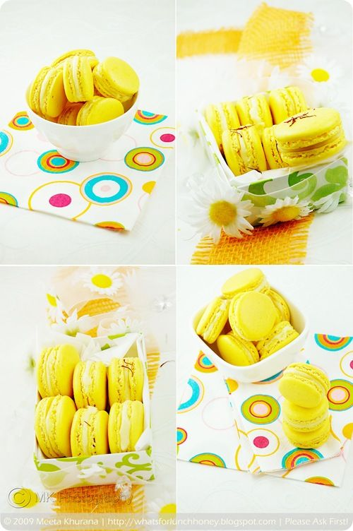 Saffron Cardamom Macarons Collage by MeetaK
