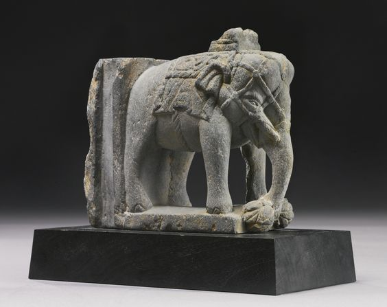 A GANDHARAN SCHIST ARCHITECTURAL ELEMENT WITH AN ELEPHANT 2ND / 3RD CENTURY