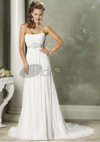 Strapless Chapel Train Chiffon Charmeuse Bridal Dresses