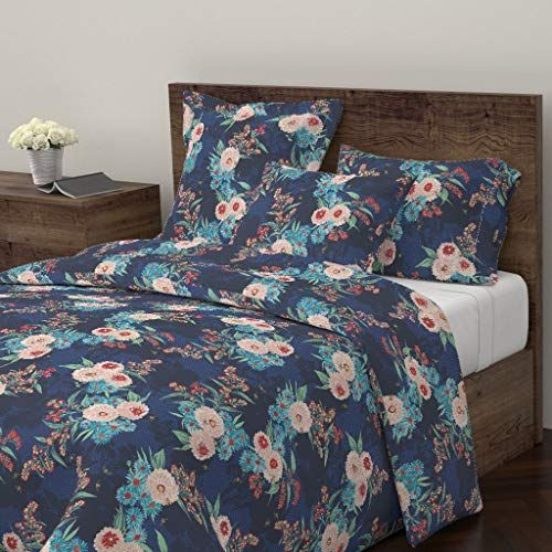 Roostery Elizabethhalpern Duvet Cover Modern Print Craft Honeybee Large Floral Painted Floral Navy By Elizabet With Images Duvet Covers Twin King Duvet Cover Modern Prints