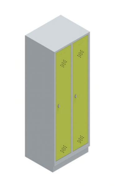 Garderobenschrank mit zwei Abteilen. Ausführung: Einsteckbarer Hutboden mit Garderobenstange und drei Schiebehaken.  Maße: 1850mm hoch (bei Sockelausführung 1800mm hoch), 610mm breit, 500mm tief