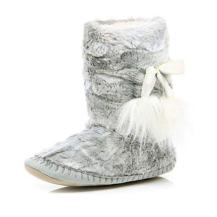 grey faux fur slipper boots - loungewear / slippers - accessories ...