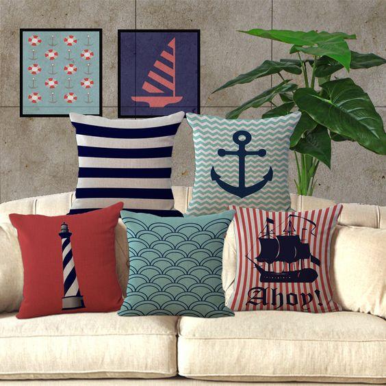 Serie mediterraneo barca a vela d'epoca cuscino mappa marinaio di ancoraggio stampato cotone tiro cuscino divano di casa auto cuscino dello schienale(China (Mainland))