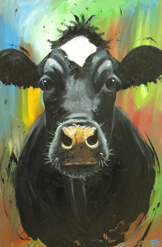 Cow painting animals 913 24x36 inch original portrait oil painting by Roz