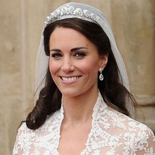 Check out the vintage Cartier tiara worn by Kate Middleton on her wedding day and the custom made acorn and oak leaf diamond earrings that were a gift from her parents.